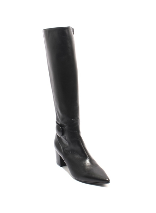 Black Leather Stretch Zip Pointy Knee High Heel Boot