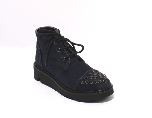 Navy Suede Lace Zip Ankle Platform Studded Boots