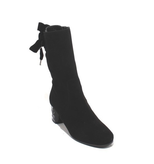 Black Suede Leather Velvet Zip Lace Mid-Calf Heel Boot