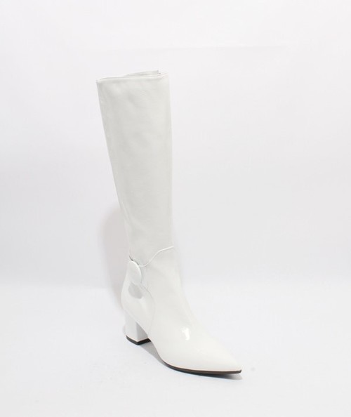 White Patent Leather Stretch Pointy Knee High Boots