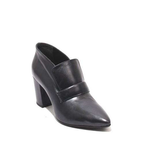 Metallic Navy Leather Pointy Booties Heel Shoes