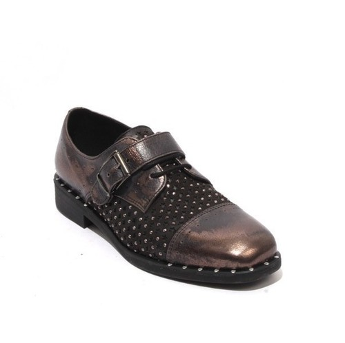Antique Bronze / Black Leather Lace Buckle Oxford Shoes