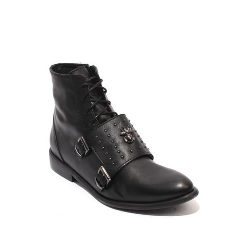 Black Leather Zip Lace-Up Buckle Ankle Pointy Boots