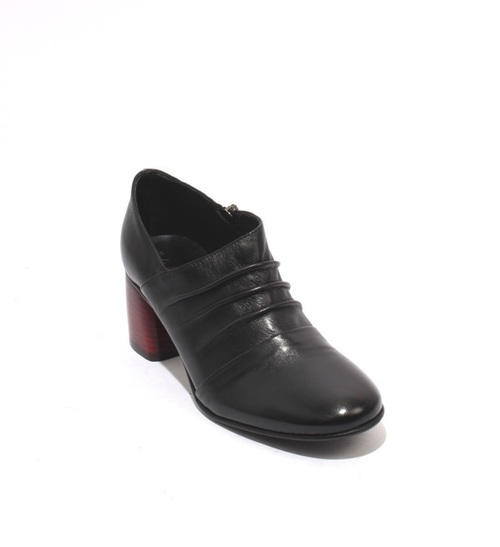 Black / Red Leather Round Toe Zip-Up Booties Heel Shoes