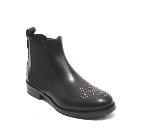 Black / Silver Leather Elastic Pull-On Ankle Studded Boots