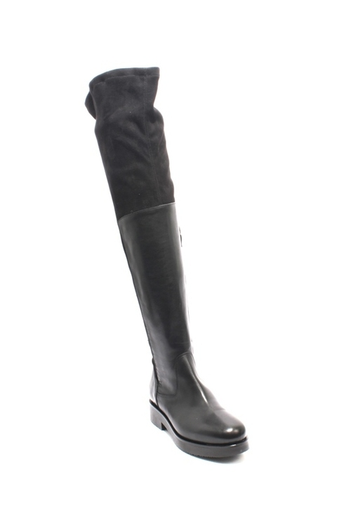Black Leather Stretch Over-the-Knee Zip-Up Riding Boots