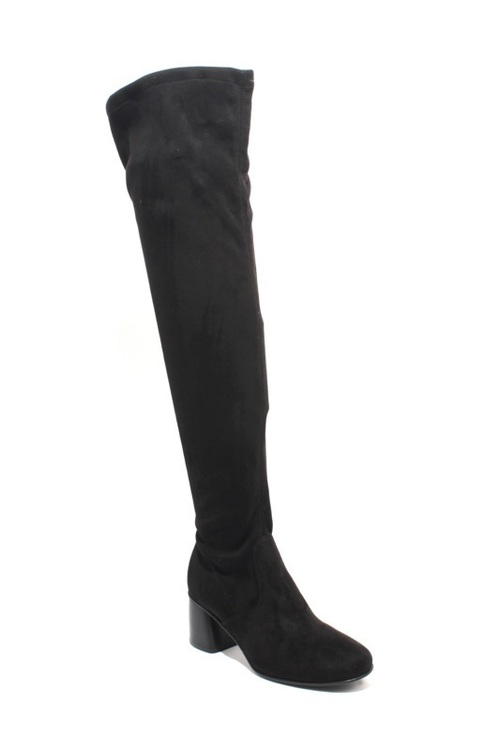 Black Ultra Stretch Suede Over-the-Knee Pull On Heel Boots