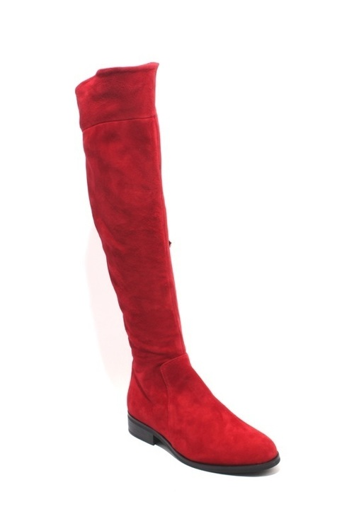 Red Suede Leather Knee-High Zip-Up Riding Boots
