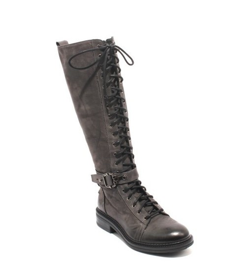 Antique Gray Nubuck Leather Lace Zip Buckle Knee-High Boot