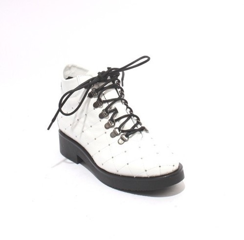 White Quilted Patent Leather Lace Studded Ankle Boots