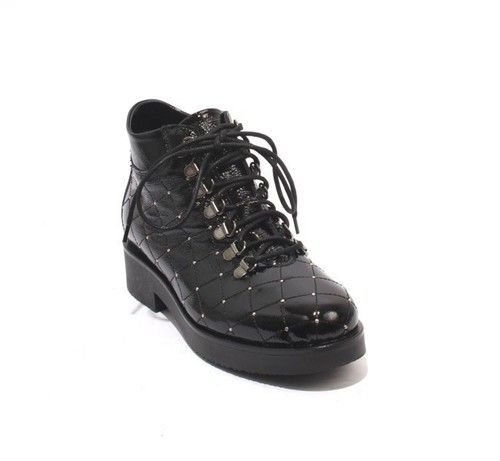Black Quilted Patent Leather Lace Studded Ankle Boots