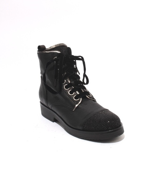 Black Silver Leather Suede Lace Zip Studded Ankle Boots