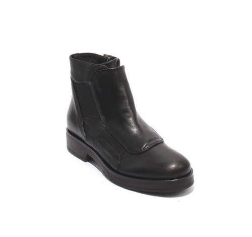 Black Leather / Elastic Zip-Up Ankle Boots