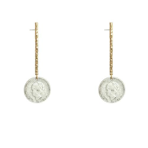 Gold Hammered Bar & Wilhemina Coin Drop Earring