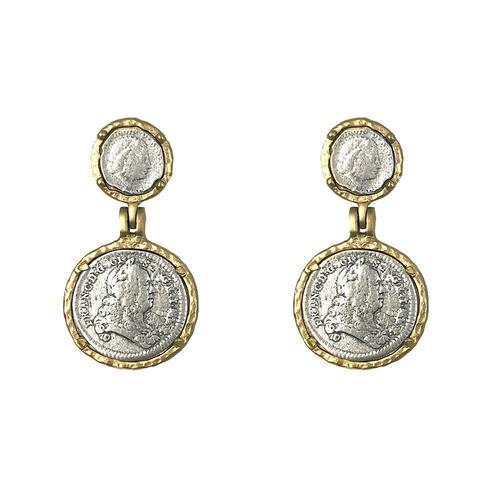 Gold Juliana & Francis II Coin Earrings