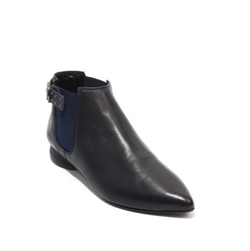 Navy Leather Elastic Panels Pointy Toe Buckle Ankle Boots