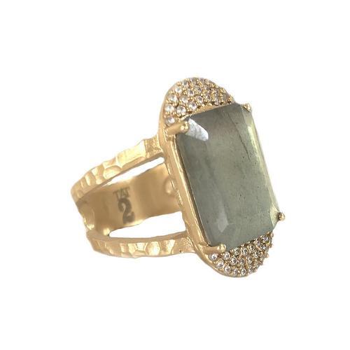 Gold Kosor Emerald Cut & Crystal Ring