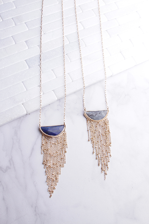 Long Stone Necklace With Metal Tassels