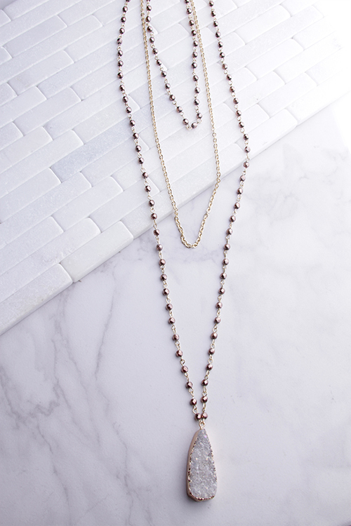 Long Layered Beaded Druzy Necklace