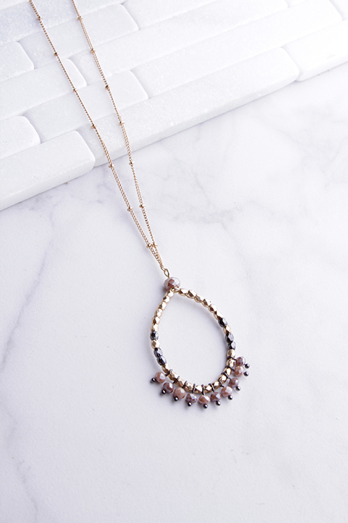 Long Circle Beaded Necklace