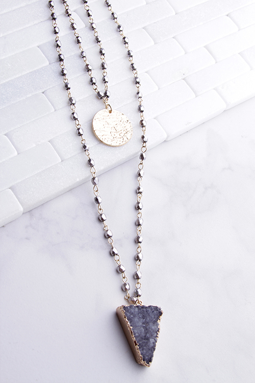 Triangle Druzy Layered Disc Necklace