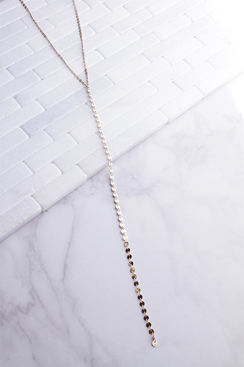 Flat Chain Lariat Necklace