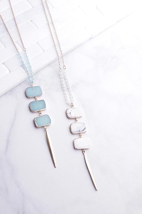Rec Stone Pendant Long Necklace