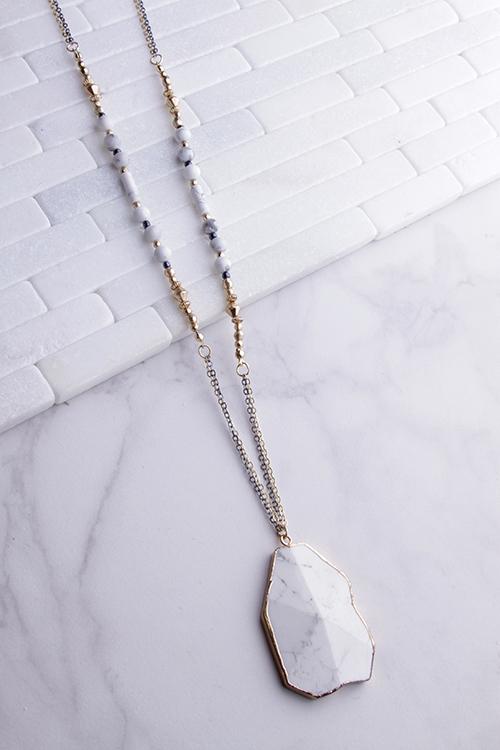 Long Beaded White Marble Pendant