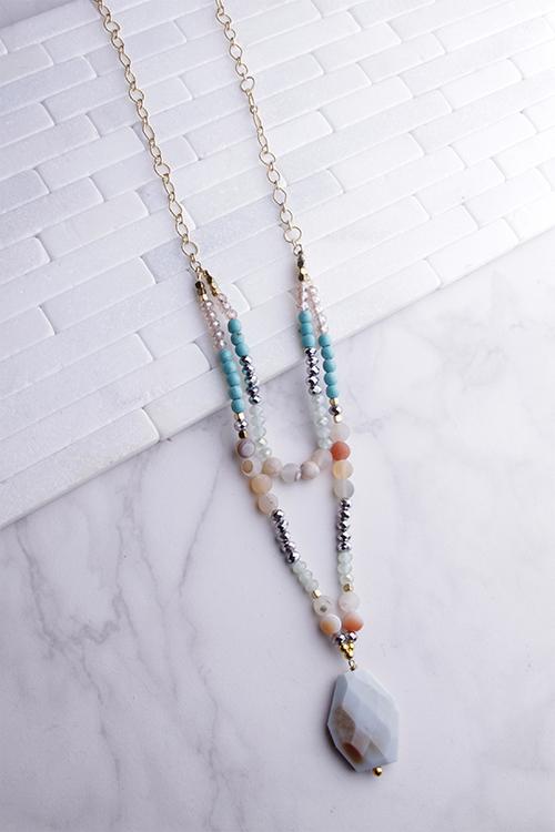 Glitz Stone Pendant Long Necklace