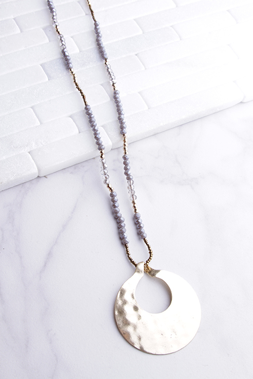 Beaded Chain Hammered Metal Pendant Necklace
