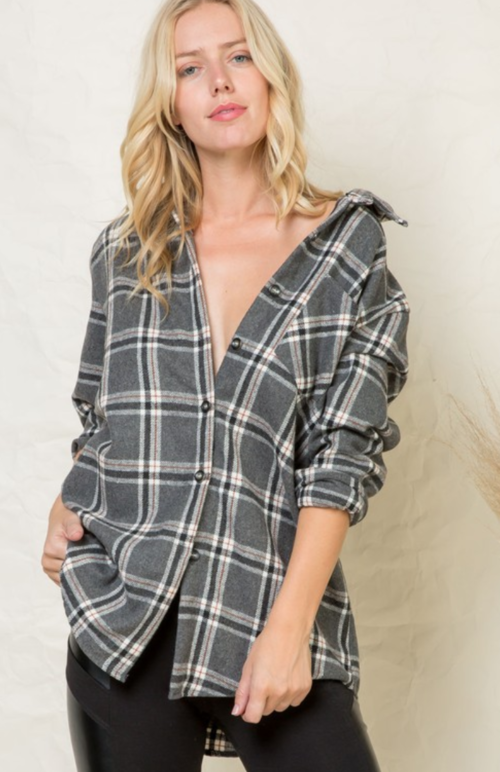 Grey & Cream Flannel Plaid Tunic
