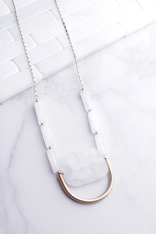 White Stone U Long Necklace