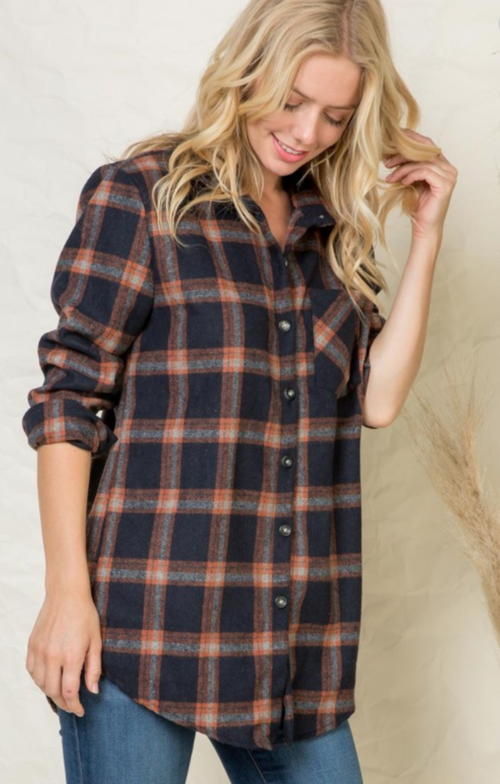 Navy & Orange Flannel Plaid Tunic