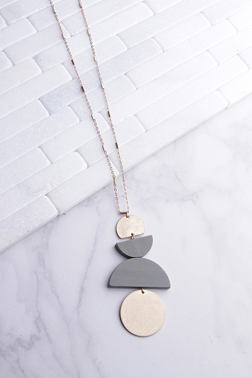 Geo Wood & Gold Disk Necklace
