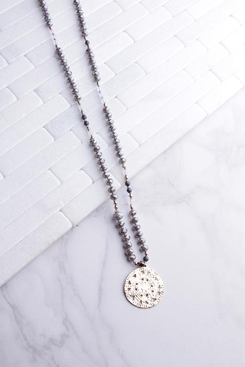 Grey Multi Tone Medallion Long Necklace