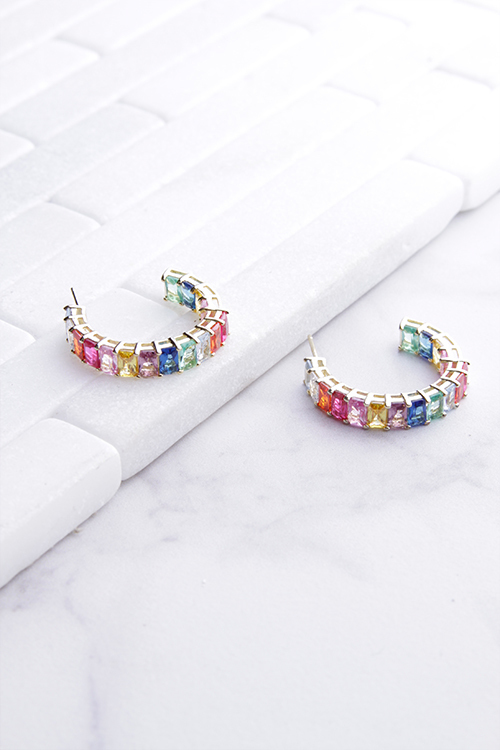 Emerald Stone Rainbow Hoop 14K Gold Plated