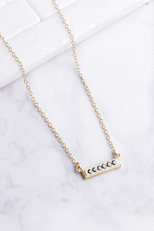 Hematite Pave Bar Stacking Necklace - Gold
