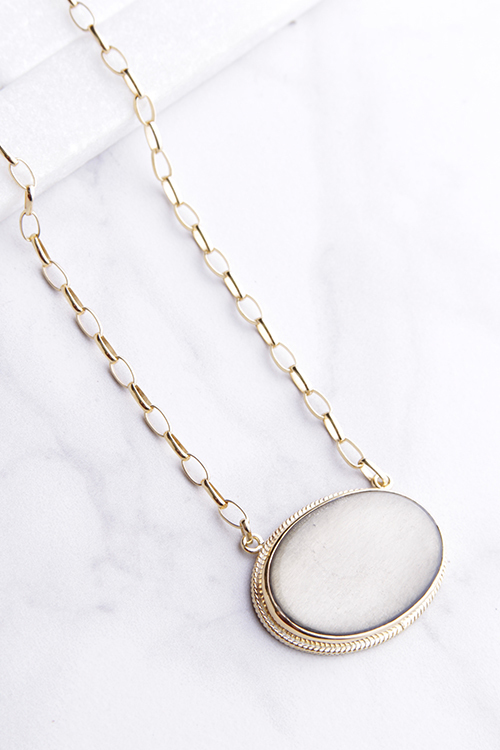Smoky Pyrite Pendent Necklace - Gold Vermeil