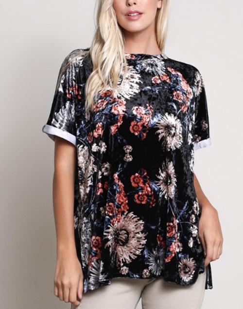 Velvet Floral Print Short Sleeve Top