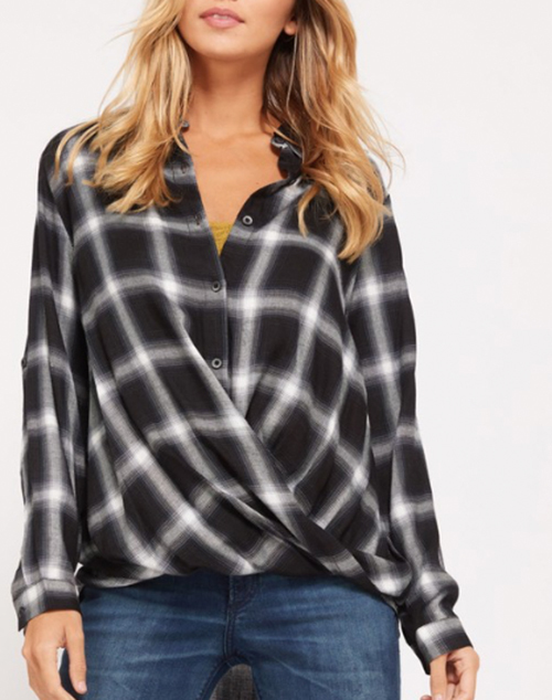 Plaid Twist Front Button Down Shirt