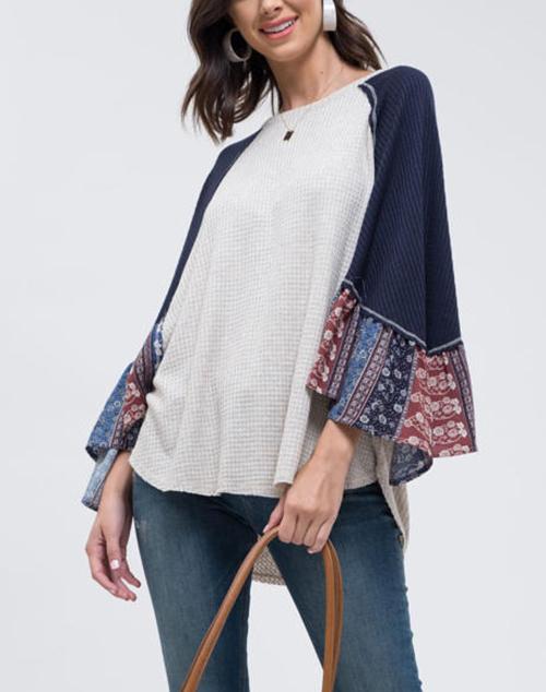 Raglan Contrast Sleeve Knit Top