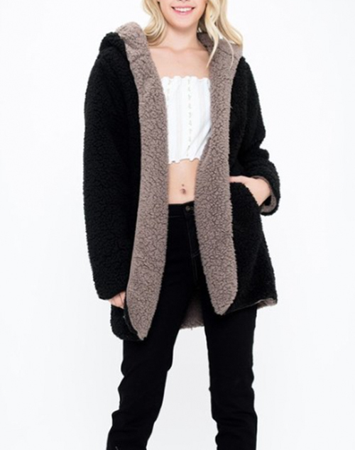 Faux Fur Hooded Jacket With Side Pocket