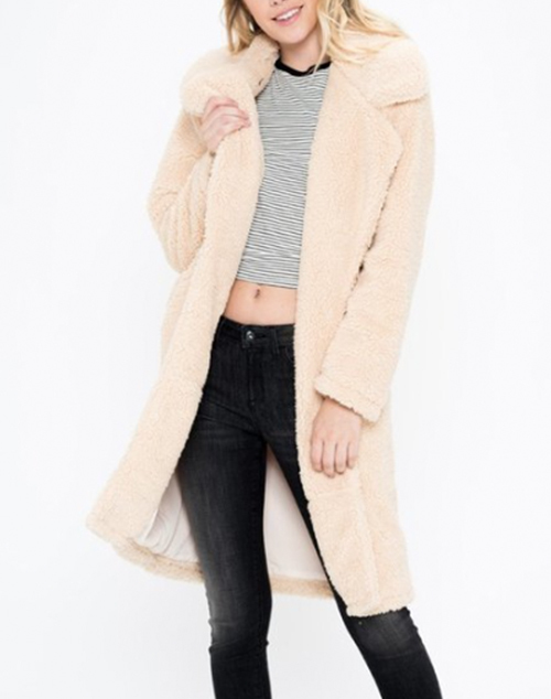 Faux Fur Long Coat With Collar & Side Pocket