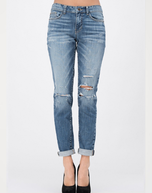Distressed Mid Rise Boyfriend Jeans