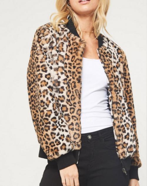 Faux Leopard Bomber Jacket