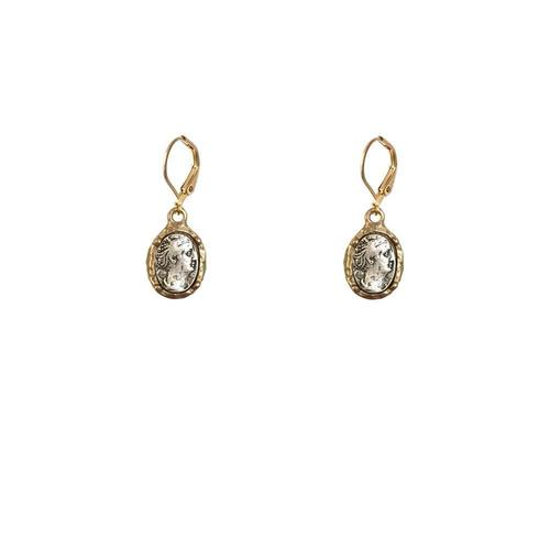Faustina Coin & Frame Drop Earrings