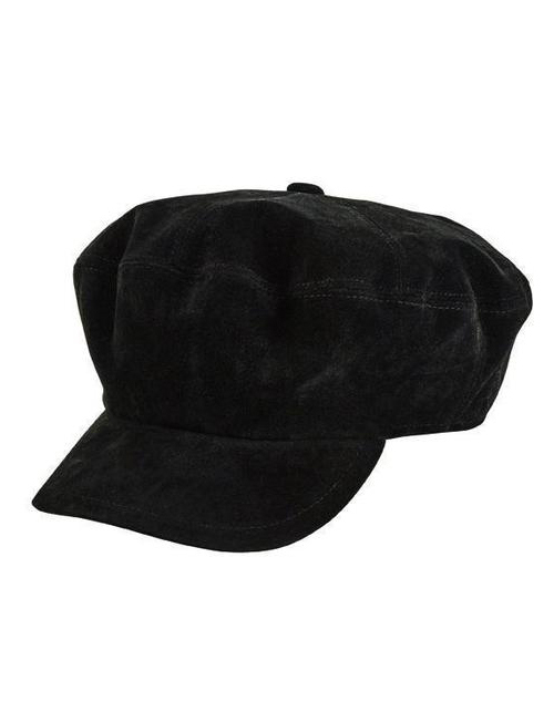 Faux Suede Baker Boy Cap - Black