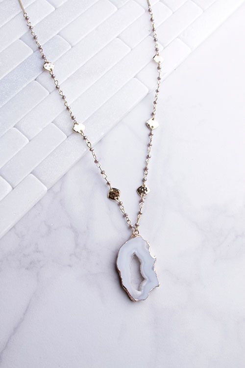 Bead White Stone Dipped Long Pendant Necklace