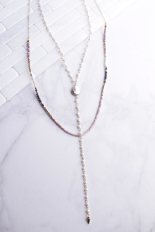 Lariat Beaded Pearl Necklace