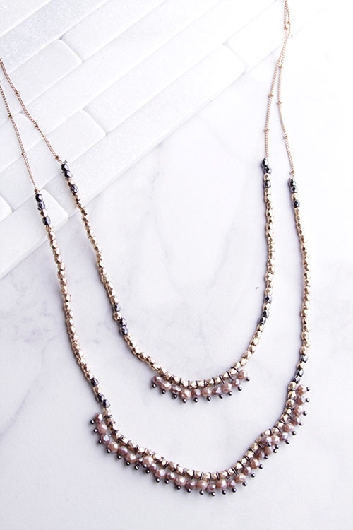 Long Layered shimmer Beaded Necklace
